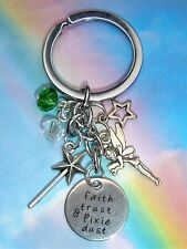 PETER PAN TINKERBELL FAIRY FAITH TRUST & PIXIE DUST CHARMS KEYRING IN GIFT BAG