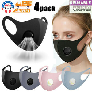 4PC Face Mask Reusable Washable Adult Soft Cloth Breathable With Breathing Valve