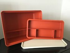 VINTAGE TUPPERWARE TUPPERCRAFT HARVEST BURNT ORANGE HOBBY STOW N GO BOX