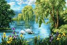 Gobelin Tapestry Panels Textile Picture Swans Lake Nature without Frame
