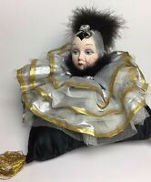 "Silver Gold Collar Pierrot Head on Black Pillow Music Box Plays ""Beyond the Sea"""