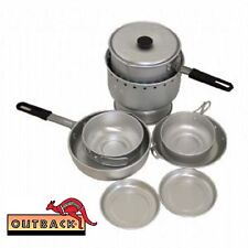 Deluxe Alcohol Stove Camp Cook Set Metho Camping Hiking Premium Quality Alumini