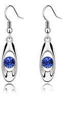 Elegant Silver & Royal Blue Crystal Eye Drop Shiny Dangle Earrings E600