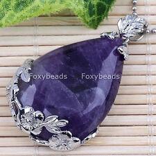 1X Natural Amethyst Teardrop Flower Purple Gemstone for Necklace Bead Pendant fb