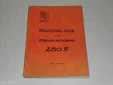 Spare Parts List Catalog Zündapp Motorcycle 250S 250 S, Stand 02/1957
