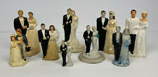 Lot of 9 Vintage Antique Chalkware & Bisque Wedding Cake Toppers