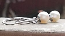 Natural Japanese Akoya pearl lever back earrings in 925 silver