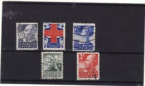 NETHERLANDS - 1927 60TH ANNIV DUTCH RED CROSS SET 5 USED