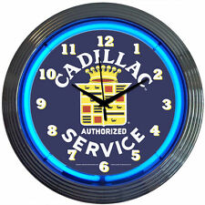 GM  Cadillac Service Neon Clock Sign - Lighted Wall Art Lamp Decor