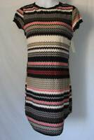 NEW Womens Shift Dress Size Small Chevron Short Sleeve Above Knee Soft Ladies