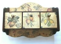 Fruit Themed Decoupaged Vintage Wooden Wall Shelf With 3 Drawers and 3 Pegs