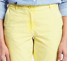 NEW LADIES SIZE 14 UK M/&S TAPERED CROP CHINO TROUSERS PALE YELLOW COTTON STRETCH