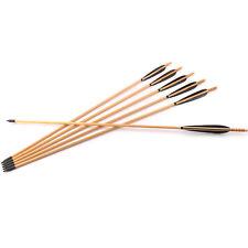 X6 DIY Archery Wooden Arrow BlackTurkey Feather Traditional Recurve Bow Hunting