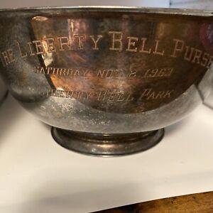 "Vin.  P. Revere Repro. Silverplate Bowl Trophy 10""-Liberty Bell Purse-Horse Race"