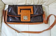 I Medici Firenze Brown Leather Flap Closure Crossbody Purse w/Removable Strap