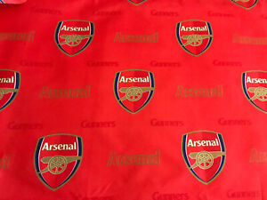 Arsenal Football Club Fabric - Crest & Name - Red & Gold - 51x51cm - Polyester