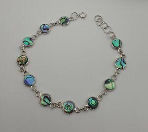 Abalone Armband Paua Muschel 925 Sterlingsilber extravagant Meer Opal S 92