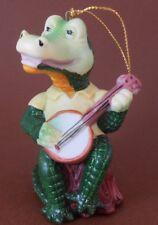 "Xmas ornament Ceramic Crocodile in ""Hilton Head Sc"" Polo Shirt Playing Banjo"