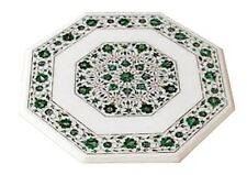 "12"" White Marble Side Coffee Table Top Malachite Floral Inlay Home Decor H1671"