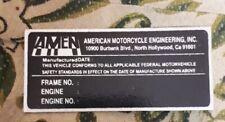 AMEN VIN DATA PLATE RIGID HARDTAIL FRAME HARLEY HONDA Kawasaki Triumph