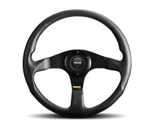 """MOMO TUNER Black 350mm Steering Wheel Leather With Red Stitching """"US Dealer"""""""