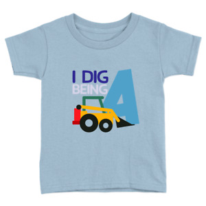 I Dig Being 4 Kids T-Shirt 4th Birthday Years Old Diggers Top Gift Present