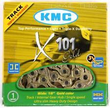 "KMC X101 Gold 1/2"" x 1/8"" 112L Track Fixie BMX Single-Speed Bicycle Chain"