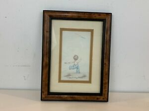 """Vintage """"Child Running with Kite"""" Framed Print Signed Peggy Dickley"""