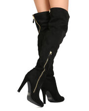 New Women Qupid Norah-01 Faux Suede Thigh High Almond Toe Zippered Stiletto Boot