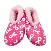 NWT Snoozies Pink with White Ribbons Slippers Medium 7/8