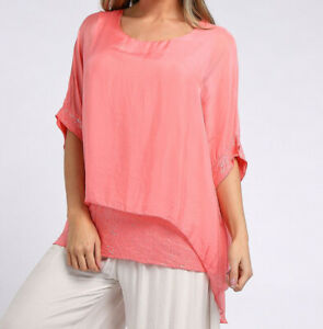 Double Layer Silk and Sequin Batwing Top in Coral Pink from Timeless Season