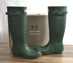 Hunter Women's Green Matte Rubber Rain Boots Original Tall Size 8 MED WFT1000RMA