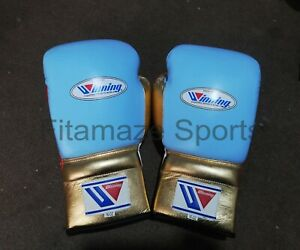 New Custom  Winning Boxing Gloves  Lace Up Pro Type Training 16 oz Golden