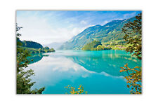 Blue Lake Mountains and Forests Landscape Poster Prints Wall Art Decor Pictures