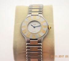 CARTIER Stainless Steel and 18k Yellow Gold Must De Cartier 21 Bracelet Watch.