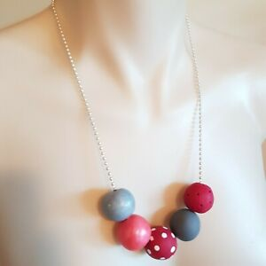 New colourful retro bright red grey polymer clay necklace handmade in Australia