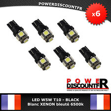 6 Veilleuses ampoules LED W5W T10 6500k Blanc XENON 5 SMD voiture moto BLACK