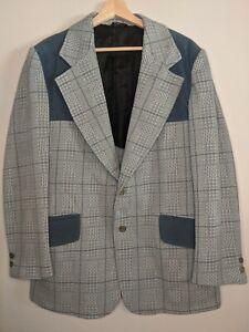 Vintage 1970s Plaid Patch Disco LEISURE SUIT JACKET Blazer Coat Size L