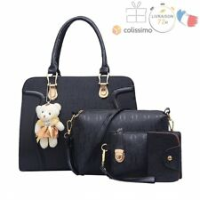 Bag Set Sacs Femme: Sac à Main + Messenger + Sac à Main + Carte Sac en Cuir Noir