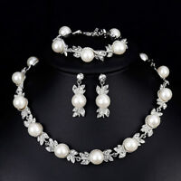 Faux Pearl Brautschmuck Sets Silber Farbe Hochzeit Halskette Ohrringe Brace  BC