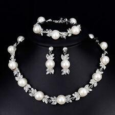 Faux Pearl Bridal Jewelry Set Silver Color Wedding Necklace Earrings Bracele FL