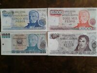 WORLD PAPER MONEY ARGENTINA 1977 - 1000 PESOS + 3 *BANK NOTES* Collectibles
