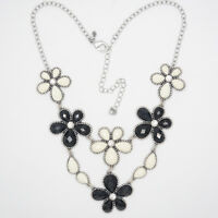 premier designs jewelry vintage silver plated cluster statement flower necklace