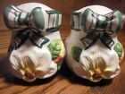 New Salt & Pepper Shakers w/Stoppers White Ceramic Floral Design w/Green Bow  79