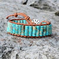 Unisex Handmade Blue Sea Sediment Jasper Tube Beads Leather Wrap Cuff Bracelet