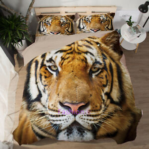 Tiger Quilt/Doona/Duvet Cover Set Single/Double/Queen/King Size Bed Pillow Case