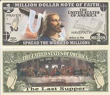 Jesus Christ Last Supper Million Dollar Note of Faith Funny Money Novelty Bill