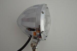 Hot Rod Retro Car Headlight Chromed Aluminium Bottom Mount 12v55/60w