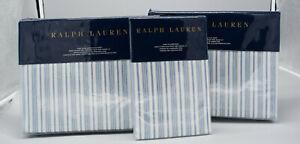 Ralph Lauren Islesboro McKensie Stripe Blue Cream King Sheet Set 4pc NEW NIP