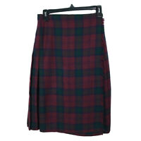 Vintage Pure New Wool Skirt Plaid Size 12 Maroon Red Green Pleated Womens